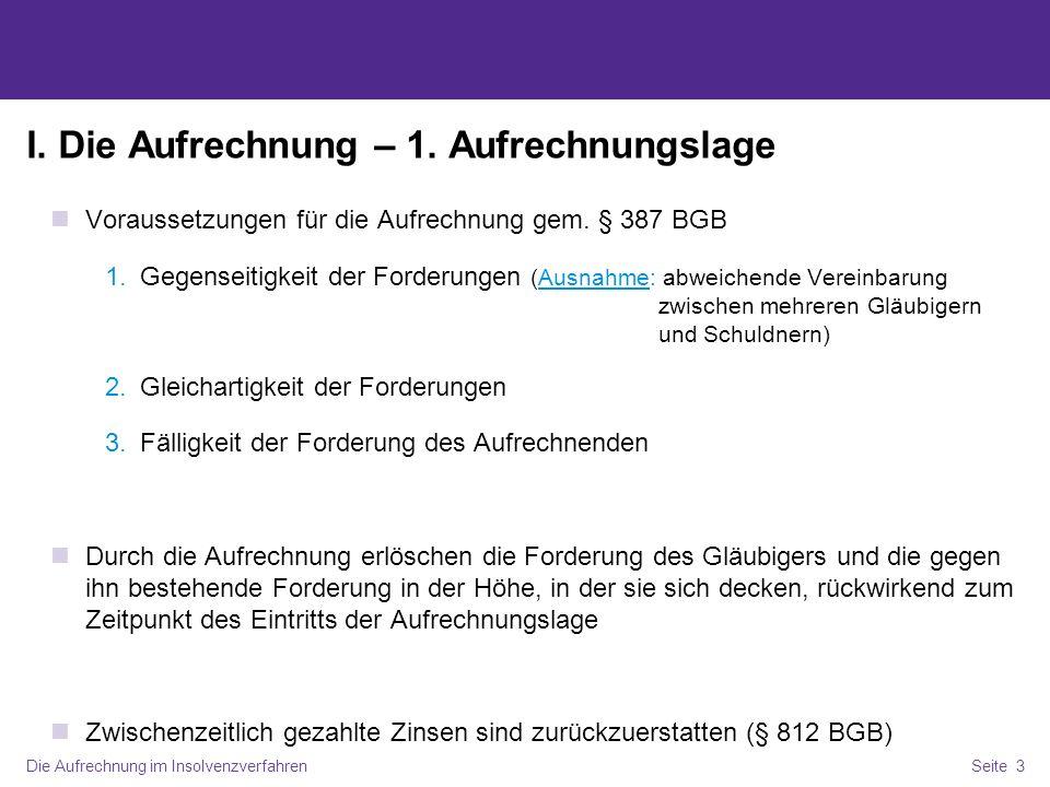 Die Aufrechnung im InsolvenzverfahrenSeite 4 I.Die Aufrechnung – 2.