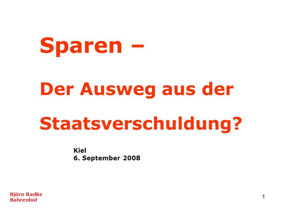 1 Sparen – Der Ausweg aus der Staatsverschuldung? Kiel 6. September 2008 Björn Radke Bahrenhof