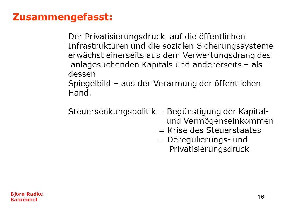 16 Zusammengefasst: Björn Radke Bahrenhof Der Privatisierungsdruck auf die öffentlichen Infrastrukturen und die sozialen Sicherungssysteme erwächst ei