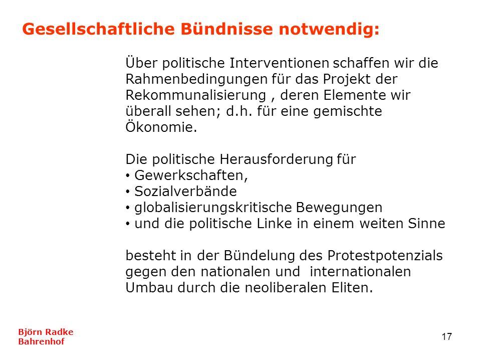 17 Gesellschaftliche Bündnisse notwendig: Björn Radke Bahrenhof Über politische Interventionen schaffen wir die Rahmenbedingungen für das Projekt der