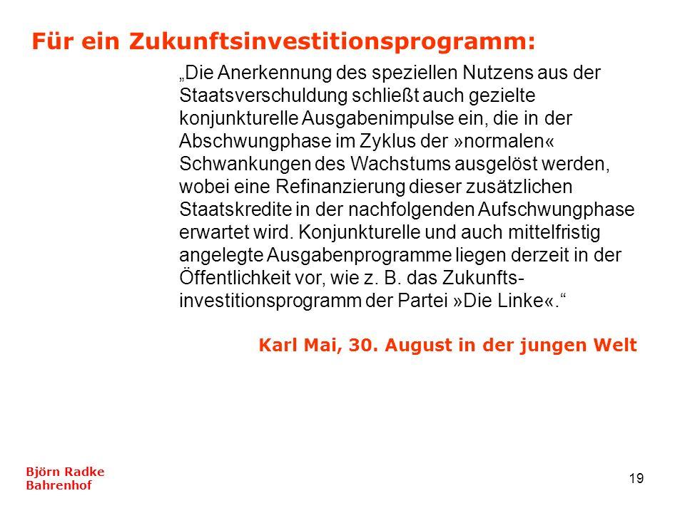 19 Für ein Zukunftsinvestitionsprogramm: Björn Radke Bahrenhof Die Anerkennung des speziellen Nutzens aus der Staatsverschuldung schließt auch gezielt