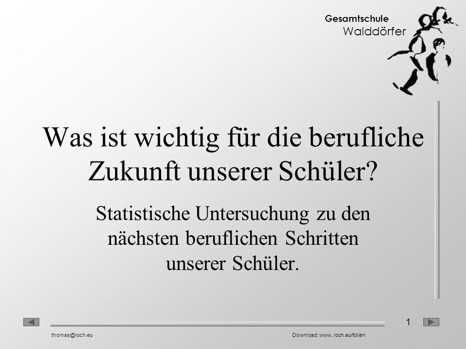 1 Gesamtschule Walddörfer thomas@roch.euDownload: www..roch.eu/folien Was ist wichtig für die berufliche Zukunft unserer Schüler? Statistische Untersu