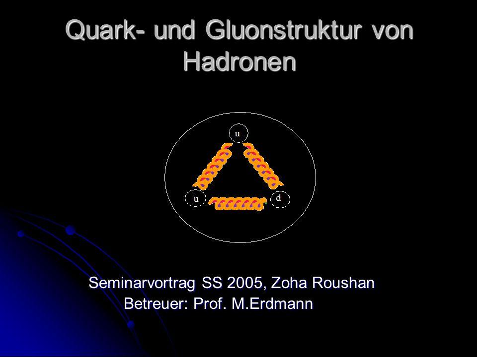 Quark- und Gluonstruktur von Hadronen Seminarvortrag SS 2005, Zoha Roushan Seminarvortrag SS 2005, Zoha Roushan Betreuer: Prof. M.Erdmann