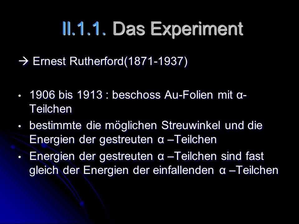 II.1.1. Das Experiment II.1.1. Das Experiment Ernest Rutherford(1871-1937) Ernest Rutherford(1871-1937) 1906 bis 1913 : beschoss Au-Folien mit α- Teil