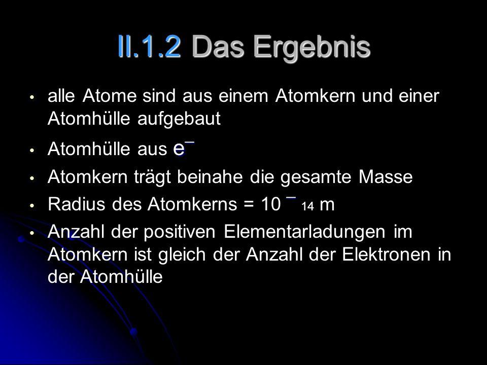 alle Atome sind aus einem Atomkern und einer Atomhülle aufgebaut e ¯ Atomhülle aus e ¯ Atomkern trägt beinahe die gesamte Masse ¯ Radius des Atomkerns