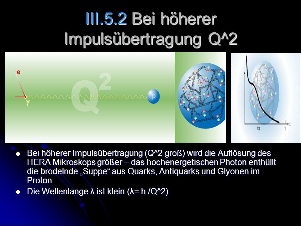 III.5.2 Bei höherer Impulsübertragung Q^2 Bei höherer Impulsübertragung (Q^2 groß) wird die Auflösung des HERA Mikroskops größer – das hochenergetisch