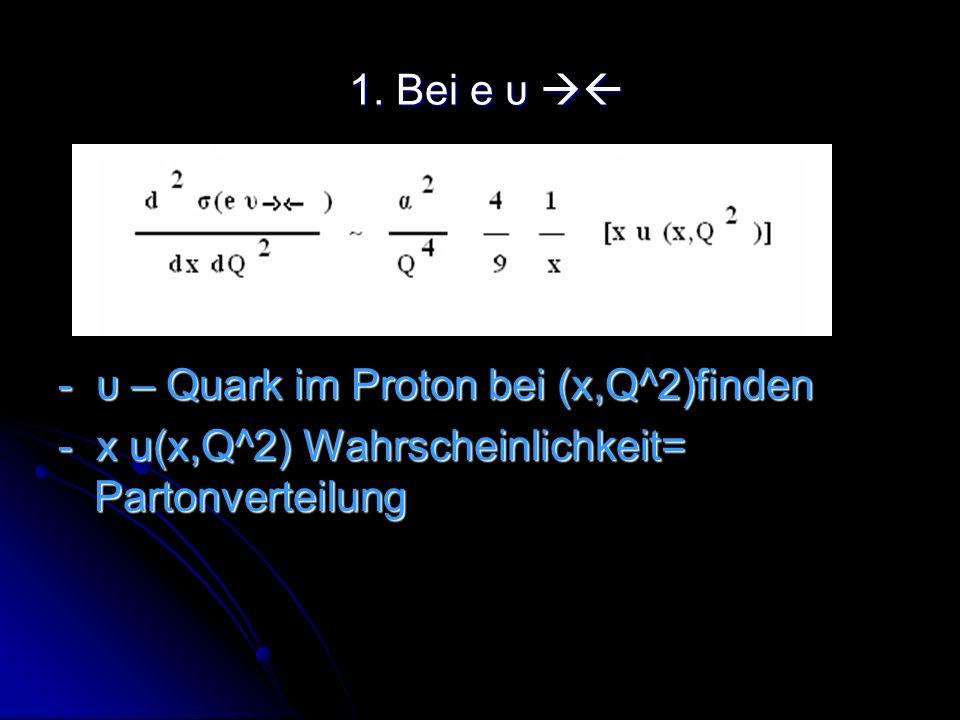 1. Bei e υ 1. Bei e υ - υ – Quark im Proton bei (x,Q^2)finden - x u(x,Q^2) Wahrscheinlichkeit= Partonverteilung