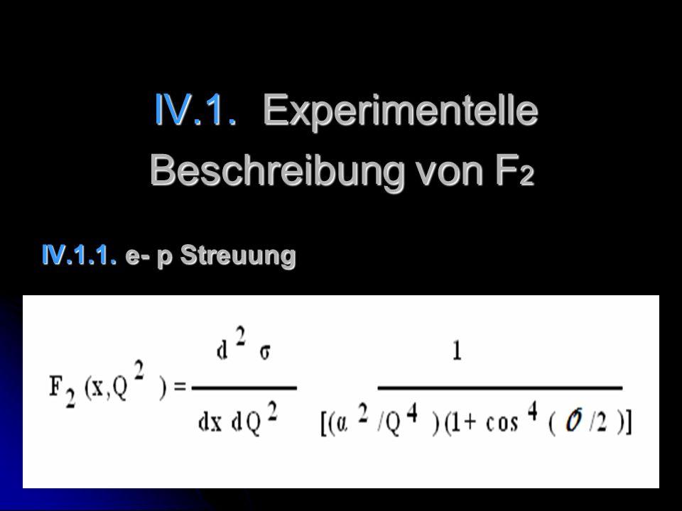 IV.1. Experimentelle IV.1. Experimentelle Beschreibung von F 2 IV.1.1. e- p Streuung