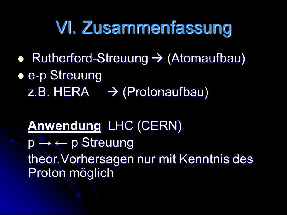 VI. Zusammenfassung Rutherford-Streuung (Atomaufbau) Rutherford-Streuung (Atomaufbau) e-p Streuung e-p Streuung z.B. HERA (Protonaufbau) z.B. HERA (Pr