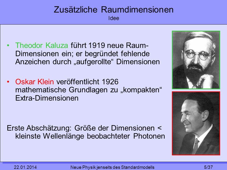 5/37 22.01.2014 Neue Physik jenseits des Standardmodells Zusätzliche Raumdimensionen Idee Theodor Kaluza führt 1919 neue Raum- Dimensionen ein; er beg