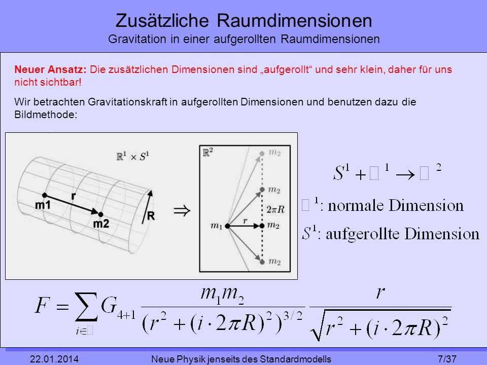 7/37 22.01.2014 Neue Physik jenseits des Standardmodells Zusätzliche Raumdimensionen Gravitation in einer aufgerollten Raumdimensionen Neuer Ansatz: D