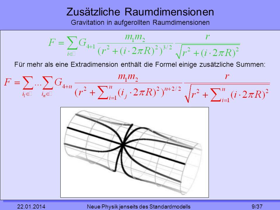 10/37 22.01.2014 Neue Physik jenseits des Standardmodells Zusätzliche Raumdimensionen Gravitation in aufgerollten Raumdimensionen Für r << R wird der Ausdruck bei i = 0 sehr viel größer als die anderen Terme Für r >> R erhalten wir das newtonsche Gravitationsgesetz: