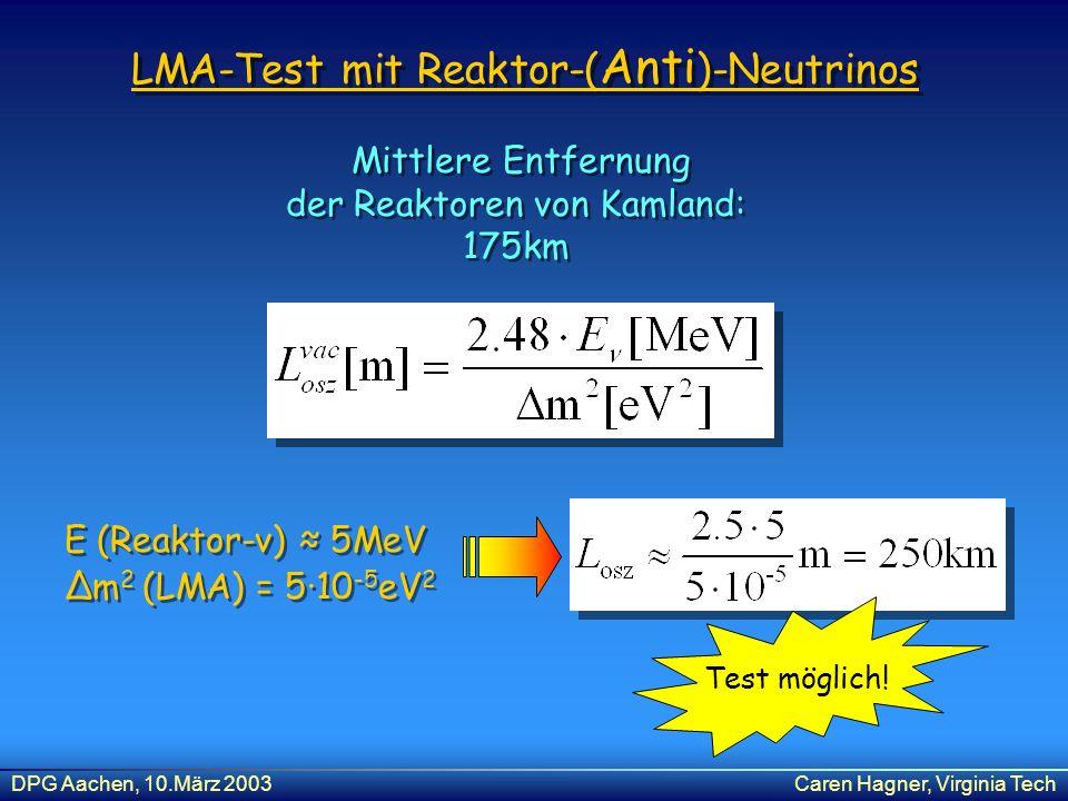 DPG Aachen, 10.März 2003Caren Hagner, Virginia Tech E (Reaktor-ν) 5MeV Δm 2 (LMA) = 510 -5 eV 2 E (Reaktor-ν) 5MeV Δm 2 (LMA) = 510 -5 eV 2 Mittlere E