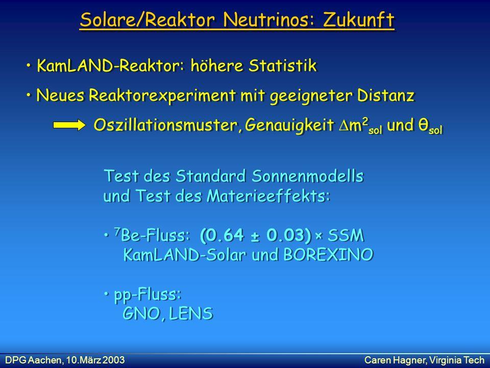 DPG Aachen, 10.März 2003Caren Hagner, Virginia Tech Solare/Reaktor Neutrinos: Zukunft Test des Standard Sonnenmodells und Test des Materieeffekts: 7 B