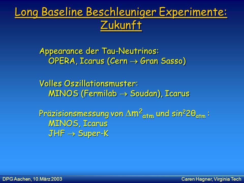 DPG Aachen, 10.März 2003Caren Hagner, Virginia Tech Long Baseline Beschleuniger Experimente: Zukunft Volles Oszillationsmuster: MINOS (Fermilab Soudan
