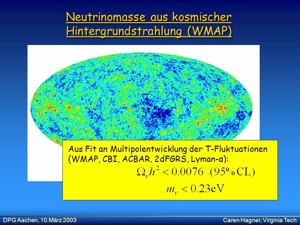 DPG Aachen, 10.März 2003Caren Hagner, Virginia Tech Neutrinomasse aus kosmischer Hintergrundstrahlung (WMAP) Aus Fit an Multipolentwicklung der T-Fluk