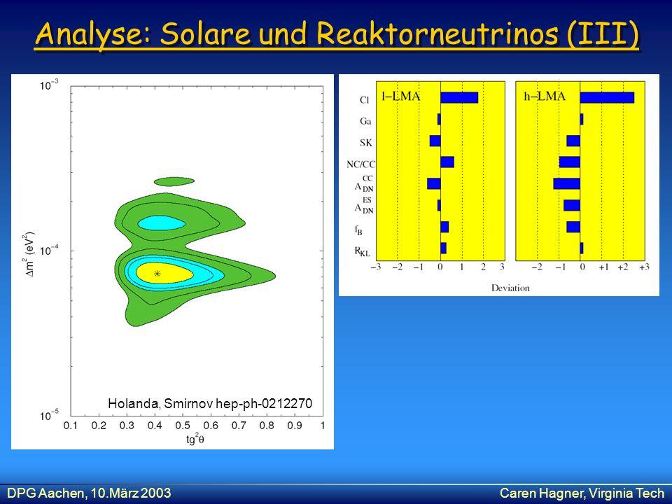 DPG Aachen, 10.März 2003Caren Hagner, Virginia Tech Analyse: Solare und Reaktorneutrinos (III) Holanda, Smirnov hep-ph-0212270