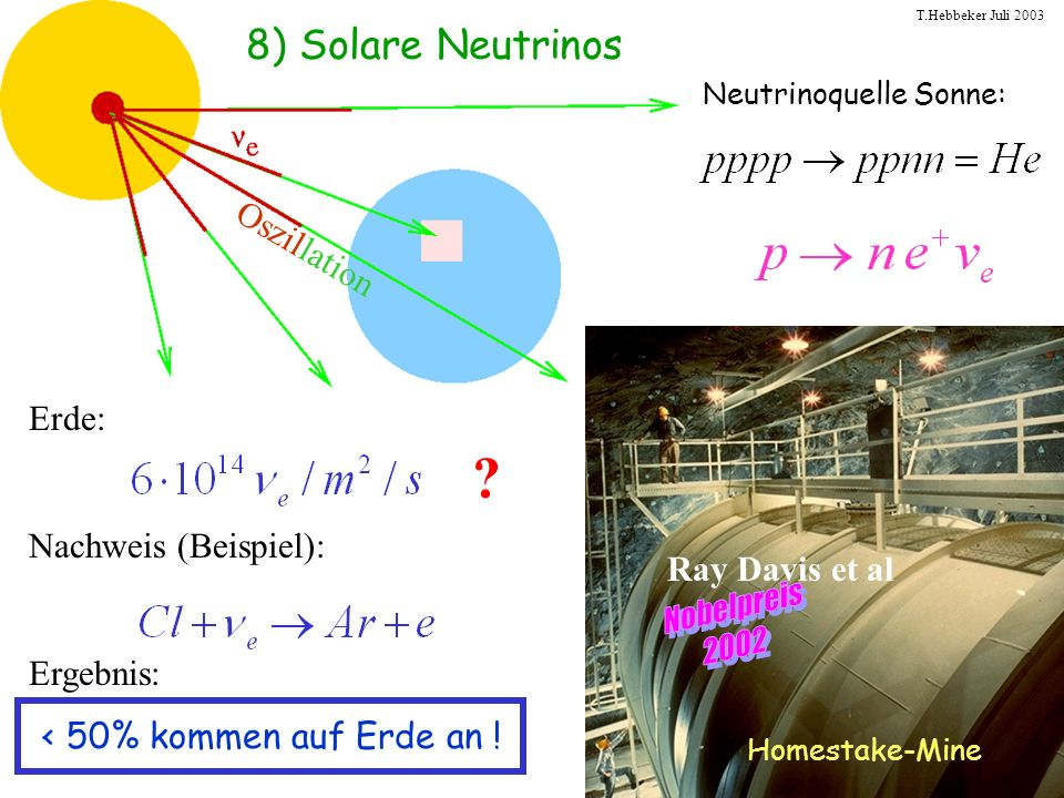 T.Hebbeker Juli 2003 8) Solare Neutrinos Neutrinoquelle Sonne: Homestake-Mine Ray Davis et al Erde: Nachweis (Beispiel): Ergebnis: < 50% kommen auf Er