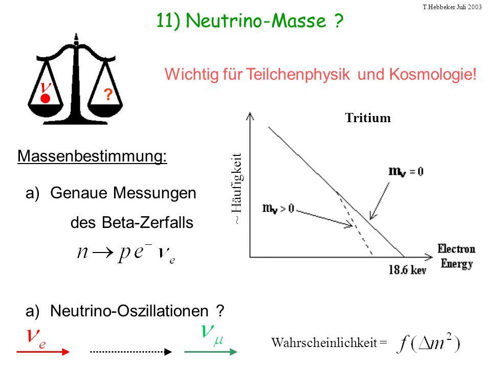 T.Hebbeker Juli 2003 11) Neutrino-Masse ? Wichtig für Teilchenphysik und Kosmologie! ? Massenbestimmung: a)Genaue Messungen des Beta-Zerfalls a)Neutri
