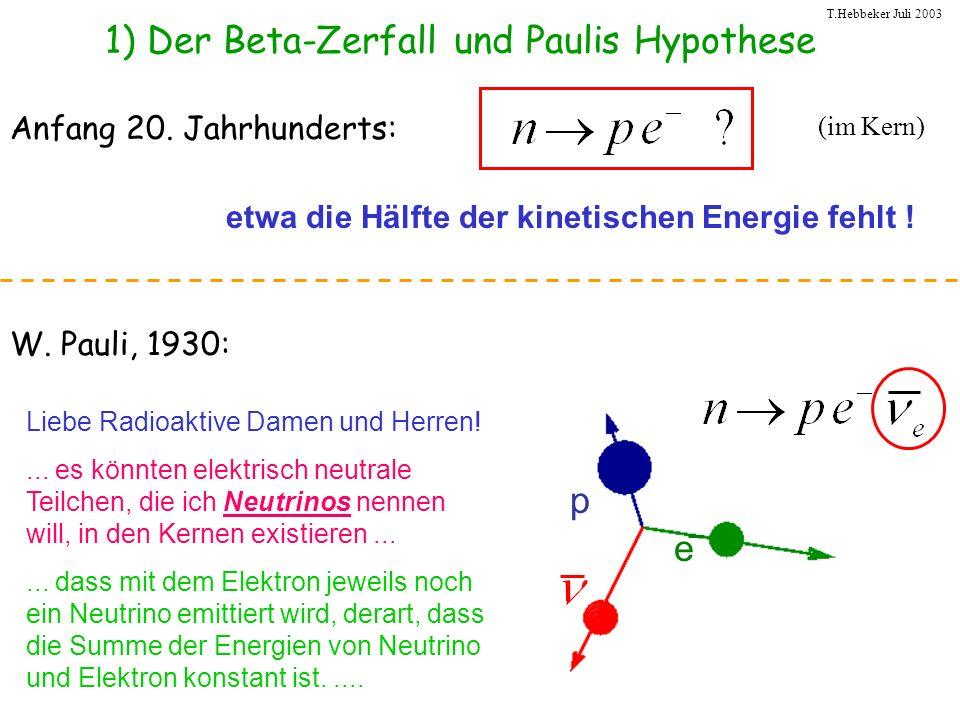 T.Hebbeker Juli 2003 1) Der Beta-Zerfall und Paulis Hypothese etwa die Hälfte der kinetischen Energie fehlt ! Anfang 20. Jahrhunderts: p e Liebe Radio