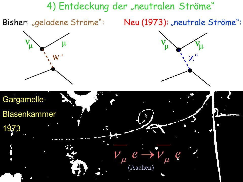 T.Hebbeker Juli 2003 Gargamelle- Blasenkammer 1973 (Aachen) 4) Entdeckung der neutralen Ströme Bisher: geladene Ströme:Neu (1973): neutrale Ströme: