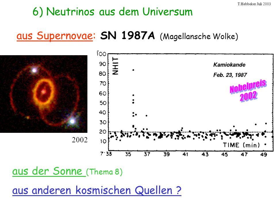 T.Hebbeker Juli 2003 aus Supernovae: SN 1987A (Magellansche Wolke) aus der Sonne (Thema 8) aus anderen kosmischen Quellen ? 6) Neutrinos aus dem Unive