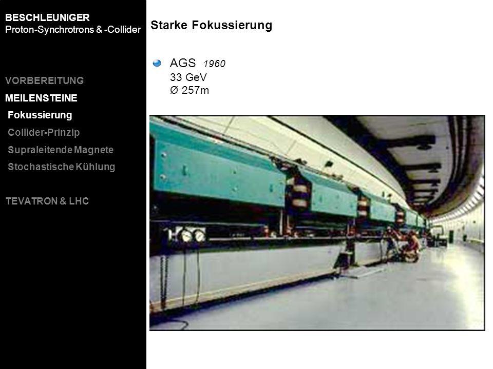 Starke Fokussierung BESCHLEUNIGER Proton-Synchrotrons & -Collider AGS 1960 33 GeV Ø 257m VORBEREITUNG MEILENSTEINE Fokussierung Collider-Prinzip Supra