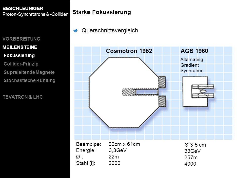 Beampipe: 20cm x 61cm Energie: 3,3GeV Ø : 22m Stahl [t]: 2000 Ø 3-5 cm 33GeV 257m 4000 Cosmotron 1952AGS 1960 Querschnittsvergleich Starke Fokussierun