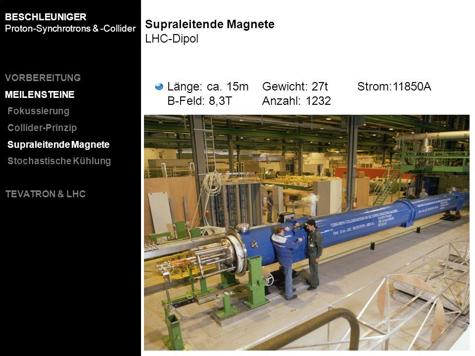Länge: ca. 15mGewicht: 27tStrom:11850A B-Feld: 8,3TAnzahl: 1232 BESCHLEUNIGER Proton-Synchrotrons & -Collider VORBEREITUNG MEILENSTEINE Fokussierung C