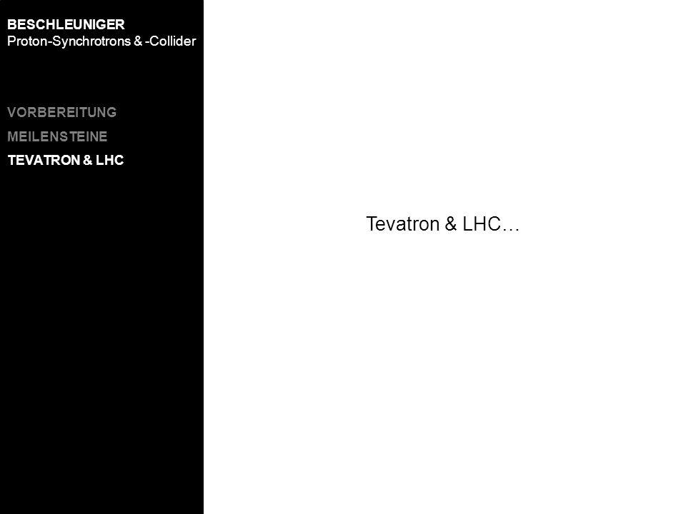 VORBEREITUNG MEILENSTEINE TEVATRON & LHC BESCHLEUNIGER Proton-Synchrotrons & -Collider Tevatron & LHC…