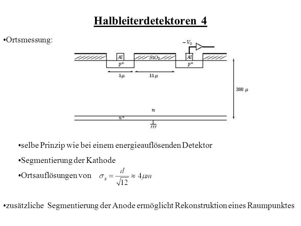 Halbleiterdetektoren 4 Ortsmessung: zusätzliche Segmentierung der Anode ermöglicht Rekonstruktion eines Raumpunktes selbe Prinzip wie bei einem energieauflösenden Detektor Segmentierung der Kathode Ortsauflösungen von
