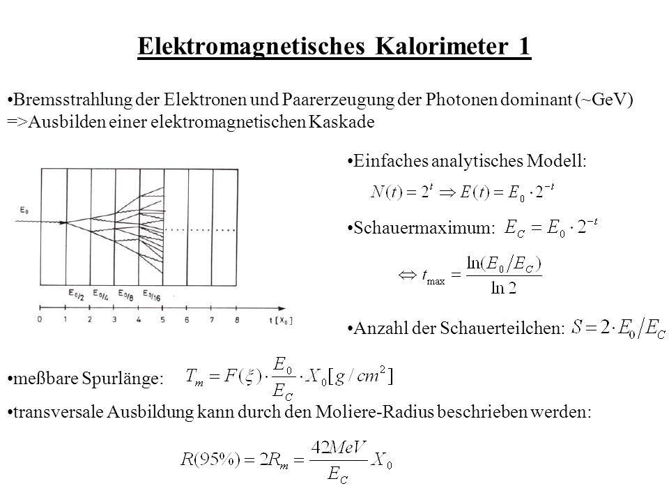 Elektromagnetisches Kalorimeter 1 Bremsstrahlung der Elektronen und Paarerzeugung der Photonen dominant (~GeV) =>Ausbilden einer elektromagnetischen Kaskade Einfaches analytisches Modell: Schauermaximum: Anzahl der Schauerteilchen: meßbare Spurlänge: transversale Ausbildung kann durch den Moliere-Radius beschrieben werden: