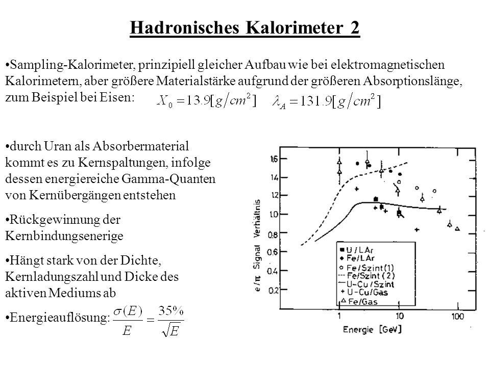 Hadronisches Kalorimeter 2 Sampling-Kalorimeter, prinzipiell gleicher Aufbau wie bei elektromagnetischen Kalorimetern, aber größere Materialstärke aufgrund der größeren Absorptionslänge, zum Beispiel bei Eisen: durch Uran als Absorbermaterial kommt es zu Kernspaltungen, infolge dessen energiereiche Gamma-Quanten von Kernübergängen entstehen Rückgewinnung der Kernbindungsenerige Hängt stark von der Dichte, Kernladungszahl und Dicke des aktiven Mediums ab Energieauflösung: