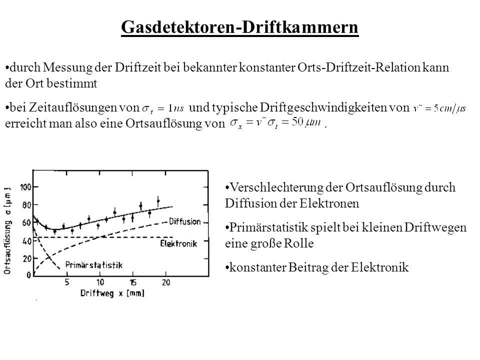 Gasdetektoren-Driftkammern durch Messung der Driftzeit bei bekannter konstanter Orts-Driftzeit-Relation kann der Ort bestimmt bei Zeitauflösungen von und typische Driftgeschwindigkeiten von erreicht man also eine Ortsauflösung von.