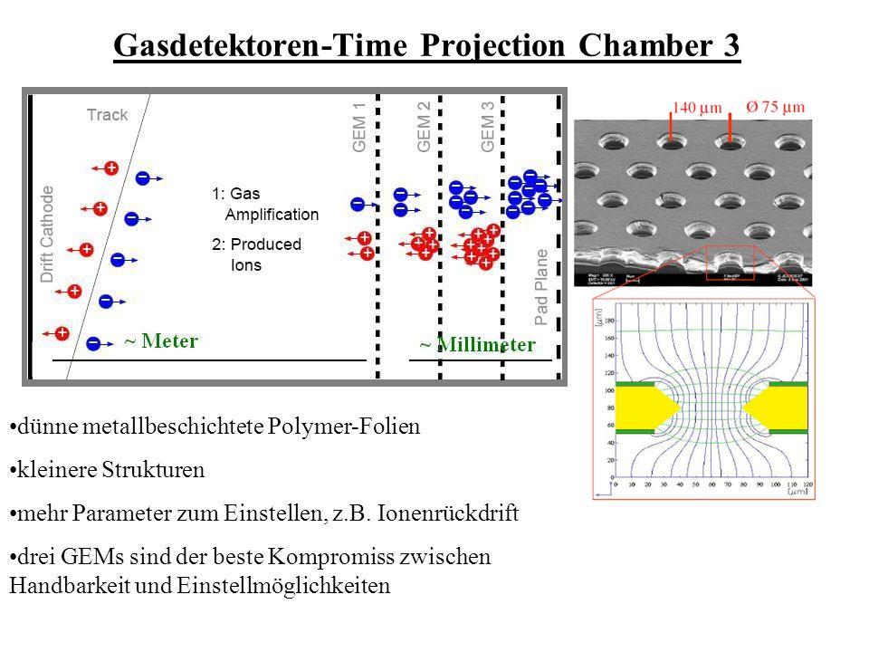 Gasdetektoren-Time Projection Chamber 3 dünne metallbeschichtete Polymer-Folien kleinere Strukturen mehr Parameter zum Einstellen, z.B.