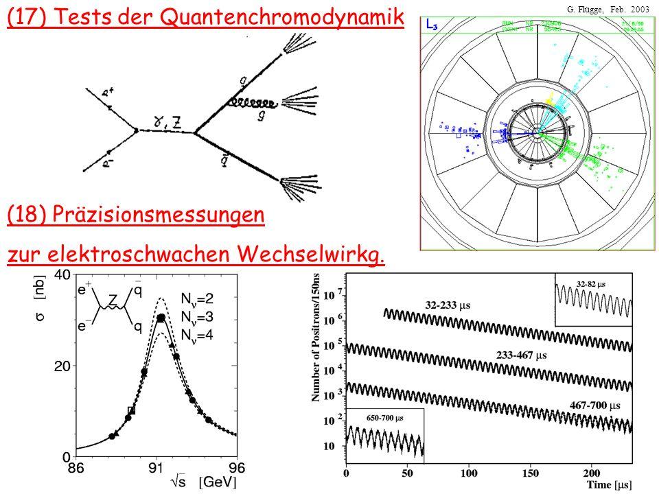 G. Flügge, Feb. 2003 (17) Tests der Quantenchromodynamik (18) Präzisionsmessungen zur elektroschwachen Wechselwirkg.
