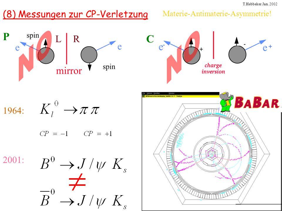 T.Hebbeker Jan. 2002 (8) Messungen zur CP-Verletzung P C 1964: 2001: Materie-Antimaterie-Asymmetrie!