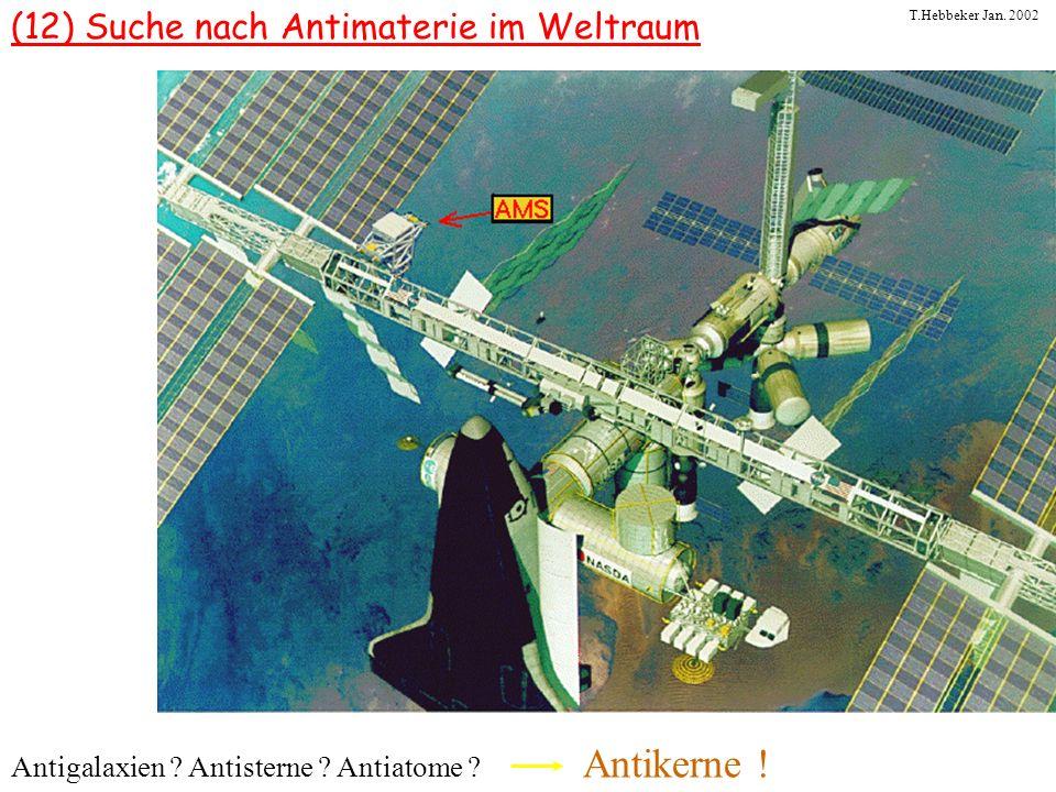 T.Hebbeker Jan. 2002 (12) Suche nach Antimaterie im Weltraum Antigalaxien ? Antisterne ? Antiatome ? Antikerne !