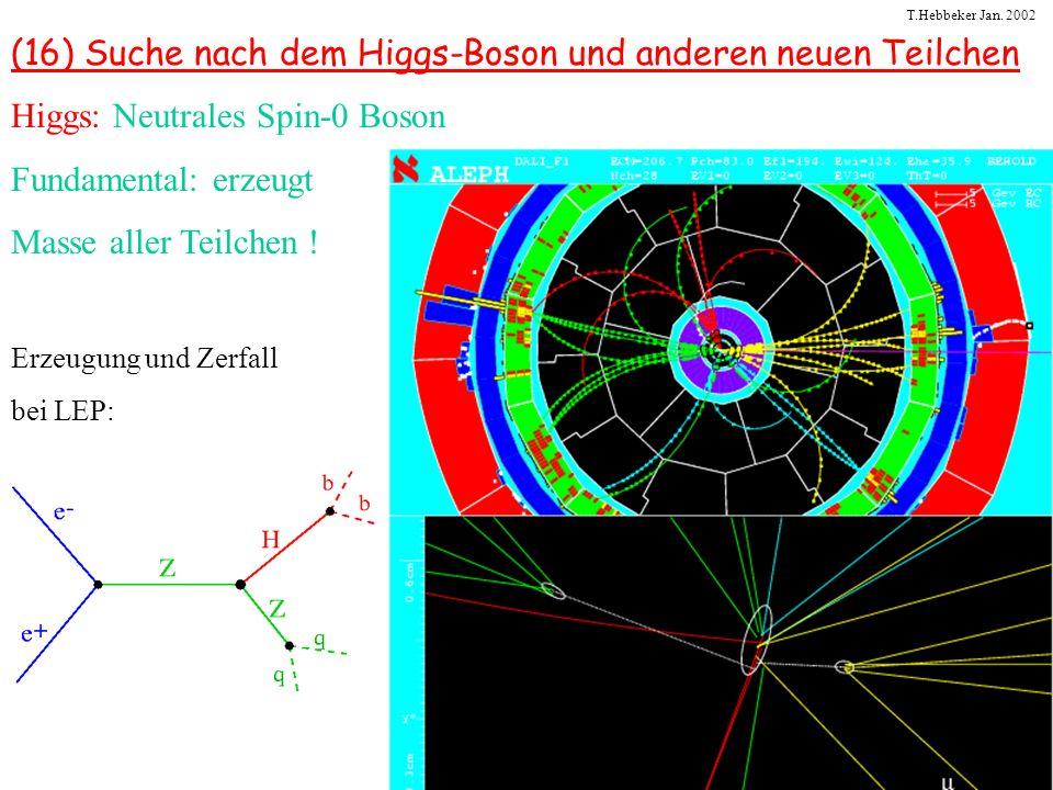 T.Hebbeker Jan. 2002 (16) Suche nach dem Higgs-Boson und anderen neuen Teilchen Higgs: Neutrales Spin-0 Boson Fundamental: erzeugt Masse aller Teilche