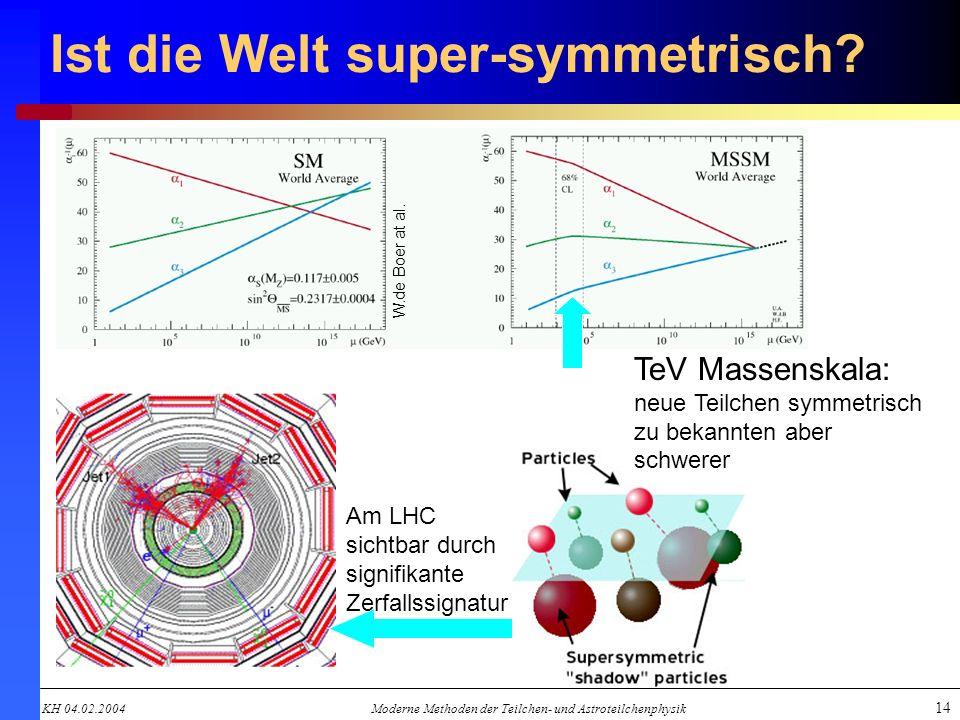 KH 04.02.2004Moderne Methoden der Teilchen- und Astroteilchenphysik 14 Ist die Welt super-symmetrisch? W.de Boer at al. TeV Massenskala: neue Teilchen