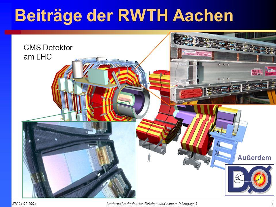 KH 04.02.2004Moderne Methoden der Teilchen- und Astroteilchenphysik 5 Beiträge der RWTH Aachen CMS Detektor am LHC Außerdem