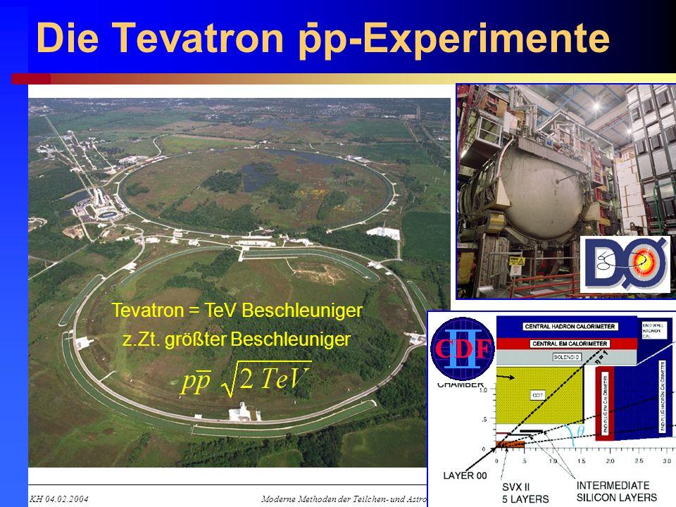KH 04.02.2004Moderne Methoden der Teilchen- und Astroteilchenphysik 9 Die Tevatron pp-Experimente Tevatron = TeV Beschleuniger z.Zt. größter Beschleun