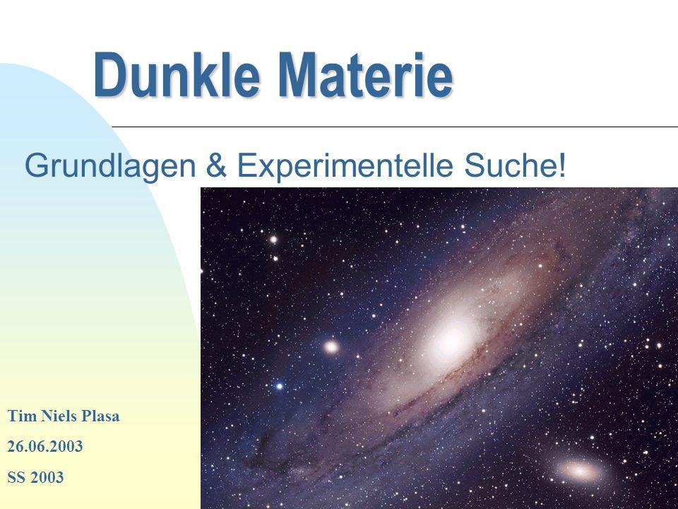 Zurück zur ersten Seite Dunkle Materie Grundlagen & Experimentelle Suche! Tim Niels Plasa 26.06.2003 SS 2003