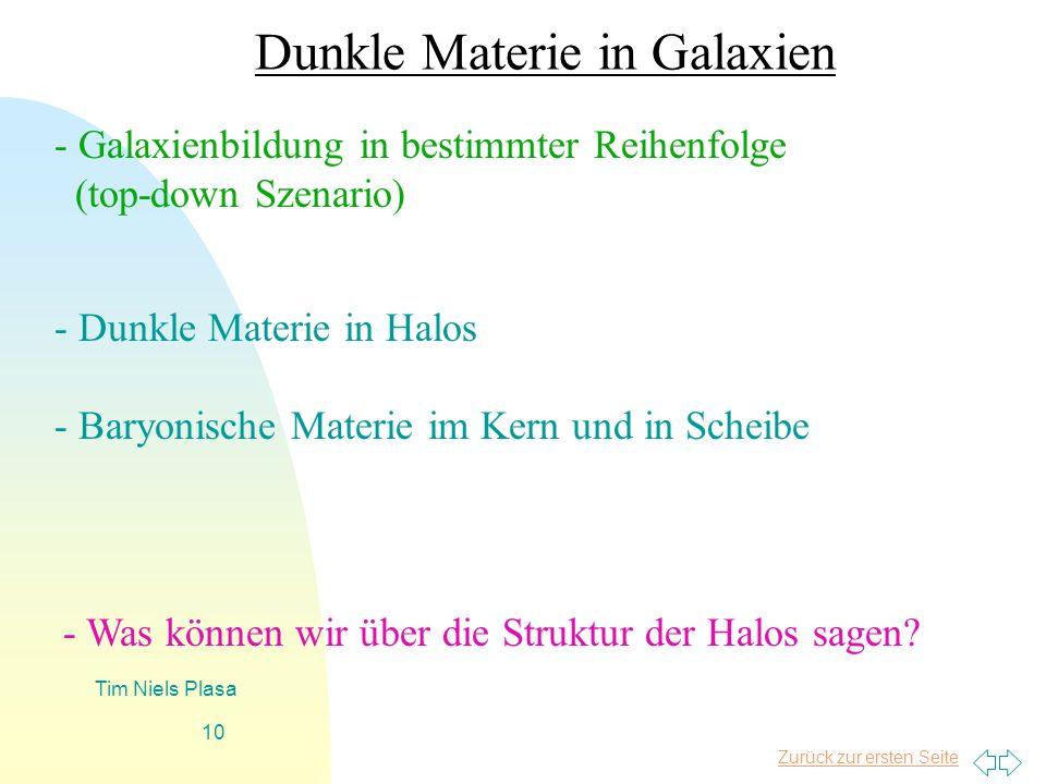 Zurück zur ersten Seite Tim Niels Plasa 10 Dunkle Materie in Galaxien - Galaxienbildung in bestimmter Reihenfolge (top-down Szenario) - Dunkle Materie