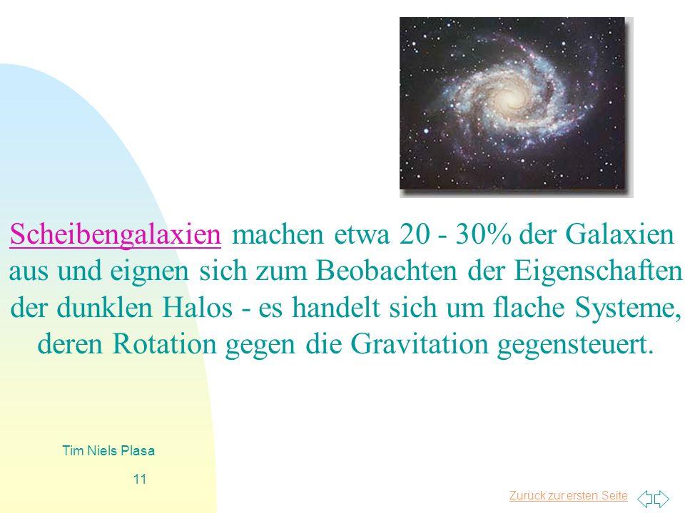 Zurück zur ersten Seite Tim Niels Plasa 11 Scheibengalaxien machen etwa 20 - 30% der Galaxien aus und eignen sich zum Beobachten der Eigenschaften der