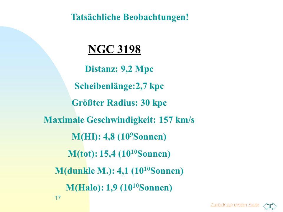 Zurück zur ersten Seite 17 NGC 3198 Distanz: 9,2 Mpc Scheibenlänge:2,7 kpc Größter Radius: 30 kpc Maximale Geschwindigkeit: 157 km/s M(HI): 4,8 (10 9