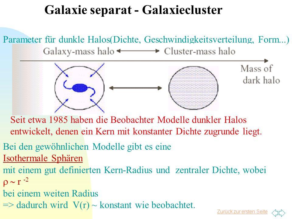 Zurück zur ersten Seite Galaxie separat - Galaxiecluster Parameter für dunkle Halos(Dichte, Geschwindigkeitsverteilung, Form...) Seit etwa 1985 haben