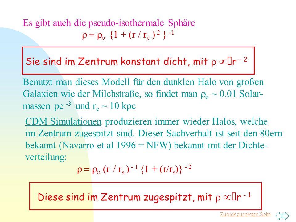 Zurück zur ersten Seite Es gibt auch die pseudo-isothermale Sphäre o {1 + (r / r c ) 2 } -1 Benutzt man dieses Modell für den dunklen Halo von großen