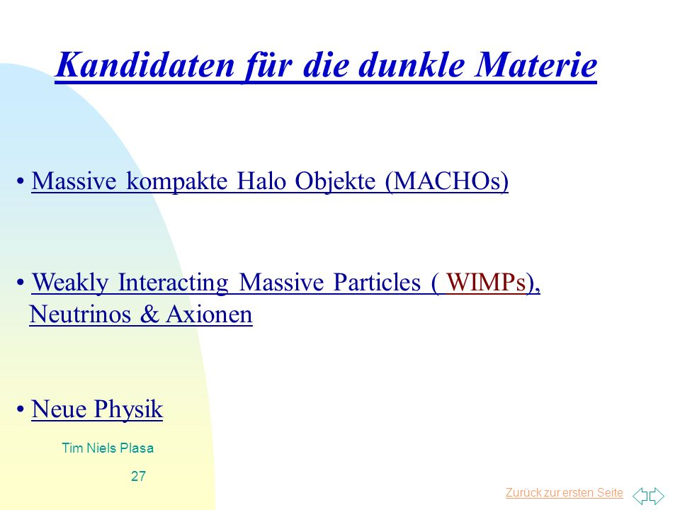 Zurück zur ersten Seite Tim Niels Plasa 27 Massive kompakte Halo Objekte (MACHOs) Weakly Interacting Massive Particles ( WIMPs), Neutrinos & Axionen N