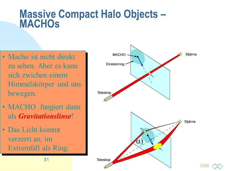 Zurück zur ersten Seite Tim Niels Plasa 31 Massive Compact Halo Objects – MACHOs Macho ist nicht direkt zu sehen. Aber es kann sich zwichen einem Himm